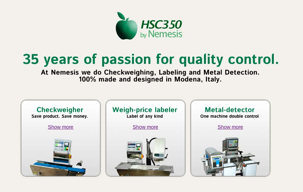 New checkweighers HSC350 by NEMESIS website is online